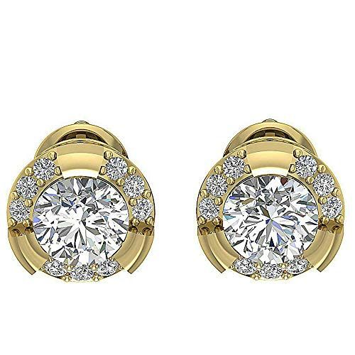 2.00 Ct Princess Cut Simulated Diamond Solitaire Stud Earrings 14k Yellow Gold Plated .925 Silver