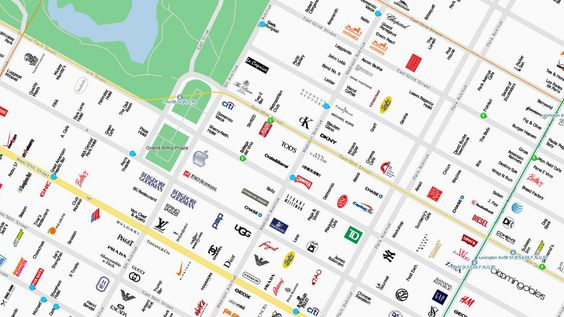 CityMaps is a view of New York City, Austin, and San Francisco through its logos alone. Rather than using satellite images, Street View, or legends for schools and restaurants, the map uses branding in its purest form--along with offers for all sorts of corresponding coupons.