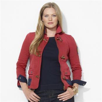 Lauren Ralph Lauren Plus Size Lobster-Claw Denim Jacket #VonMaur #LaurenRalphLauren #Red #Cuffs #Collar