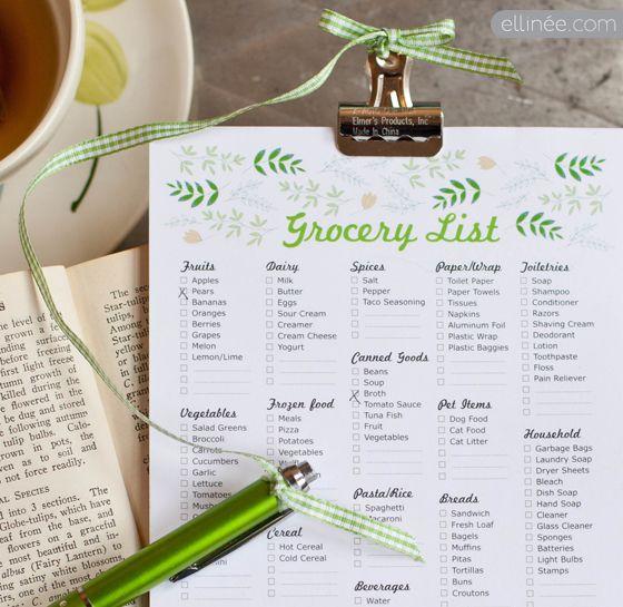 DIY Printable Grocery Shopping List Pad