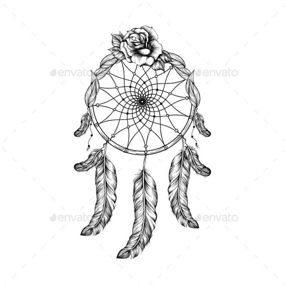 Dream Catcher with Feathers Leaves and Rose,abstract, catcher, circle, culture, decoration, dream, elegant, ethnic, fashion, feather, greeting, holiday, illustration, isolated, love, mandala, native, oriental, ornament, ornamental, print, success, symbol, tattoo, tile, traditional, tribal, unique, vector, white