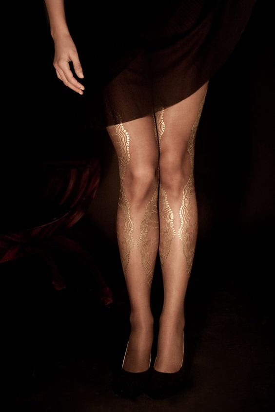 EXCLUSSIVE Hand Printed Tights -La Boheme, Gold on sheer dark brown, Flash Back collection