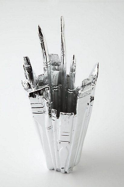"Best Vase Ever!;  By Harry Allen  Chrome plated resin, glass  Hand wash  12""H, 5"" diameter  Imported  Style #: 26925495  COLOR: SILVER"
