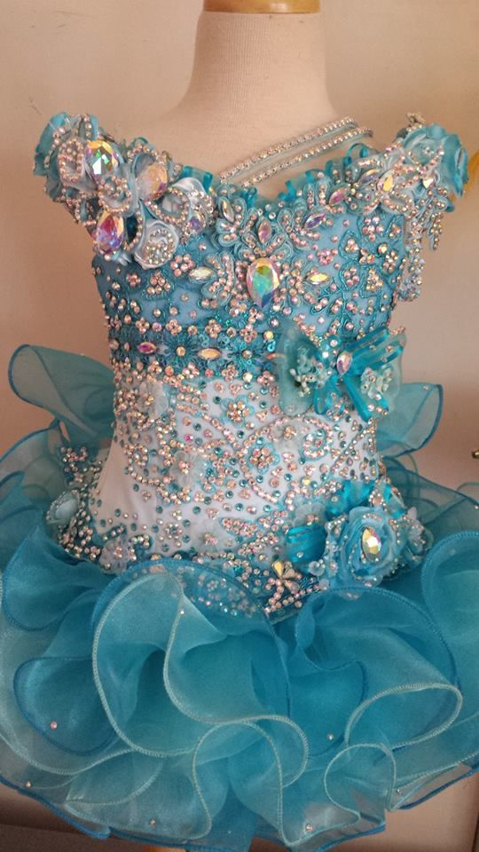 Beautiful Caribbean blue two toned mega glitz pageant dress. Make ...