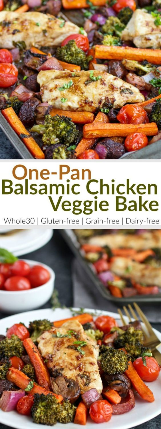Healthy, easy & delicious! One-Pan Balsamic Chicken Veggie Bake is quick to prep and in the oven for less than 20 minutes. A gluten-free, grain-free, dairy-free and Whole30-friendly recipe. | therealfoodrds.com