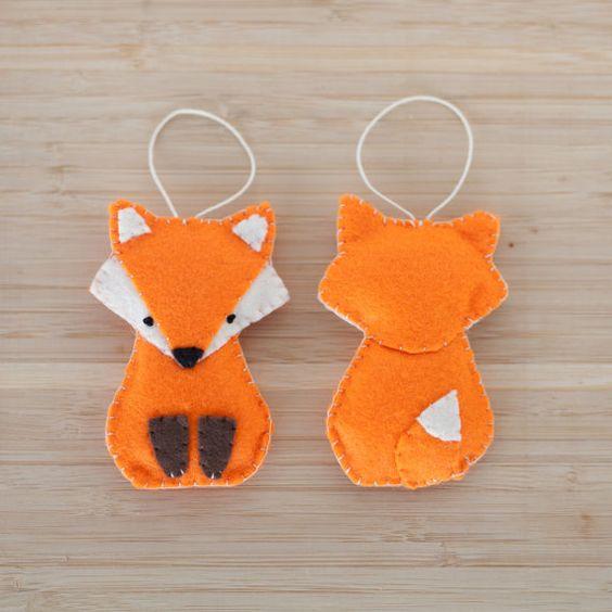 felt fox ornament, handmade fox ornament, decorative fox ornament, nursery decoration, home decor, baby gifts, holiday decoration