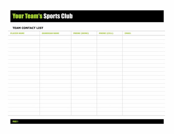 Team Contact List Template | Templates | Pinterest