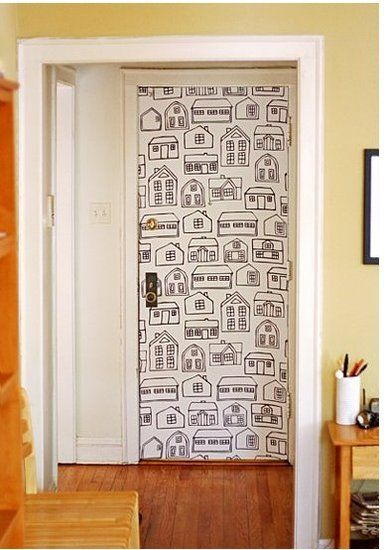Love this idea for the mud room / garage door...touch of funk