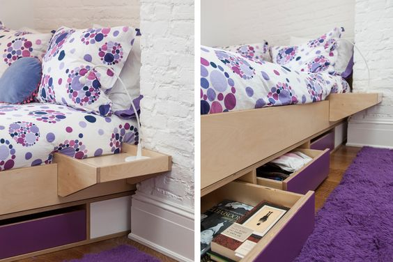 Utilizing the space underneath a bed by adding drawers is a way to maximize storage. Talia uses her storage drawers to hold school books and handbags.