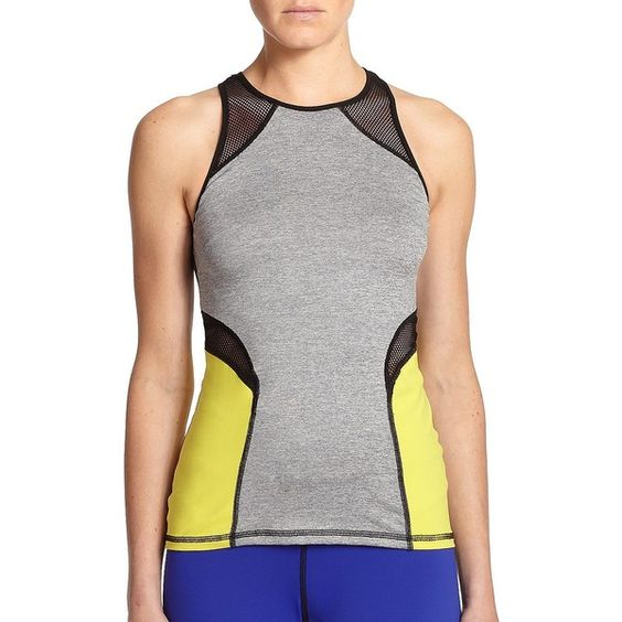 MICHI Chameleon Colorblock Performance Tank ($81) ❤ liked on Polyvore featuring activewear, activewear tops, apparel & accessories, heather acid yellow, sleeveless pullover, michi, yellow pullover and sweater pullover