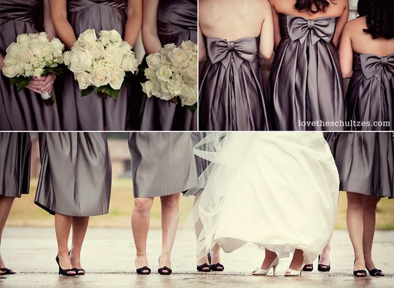 I love charcoal bridesmaid dresses. And love the bows on the back. I don't really think these are practical but they look gorgeous.