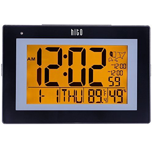 Amazon Com Hito 9 5 Large Digital Battery Atomic Alarm Clock Desk Wall Clock Self Setting Dual Alarm Auto Night Light 6 Ti Atomic Wall Clock Clock Wall Clock