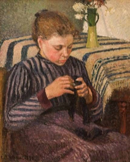 Mujer cosiendo, de Camille Pissarro