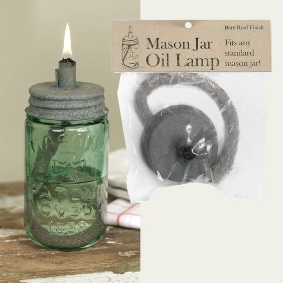 Mason Jar Oil Lamp Lid - Barn Roof
