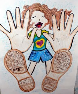 awesome foreshortening project! trace their hands and feet, then add a smaller body behind: