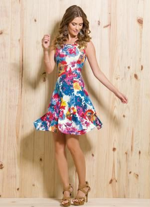 Vestido Evasê (Aquarela Floral)