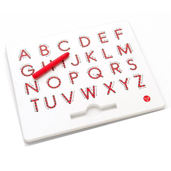 The A to Z Magnatab engages children's senses as they trace the beads over the letters to practice learning and writing letters. Kids will develop a knowledge of the alphabet as they practice repeatedly. Available at most Learning Express stores. http://www.learningexpress.com/skill-building/index.html