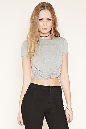Twisted-Hem Crop Top