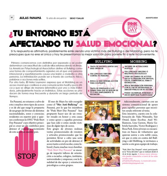Dale un alto al BULLYING!!! Te presentamos a los chicos de Pink Shirt Day Panamá quienes trabajan duro por controlar este acoso en Panamá!