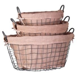 Wire Basket Lined with Burlap.