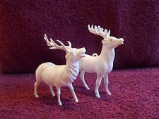 "Christmas ornament vintage celluloid pair of  reindeer 3 5/8"" white"