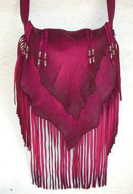 """Cuero del diseñador bolso flecos artesano Hippie Retro de cuero rosa caliente bolso """"CHERRY BOMB"""" hecho a mano por Debbie cuero"""