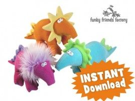 I think this is what dinosaurs would have looked like if they existed in the 1960's! :)  Fleece dinosaur stuffed animals sewing pattern design - Pauline McArthur - FUNKY FRIENDS FACTORY