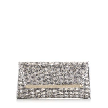 Champagne Leopard Print Glitter Fabric Accessory Clutch Bag