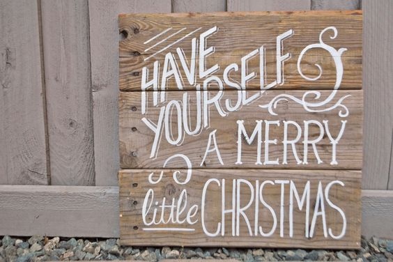 Have Yourself a Merry Little Christmas - Vintage Poster style Wood Sign: