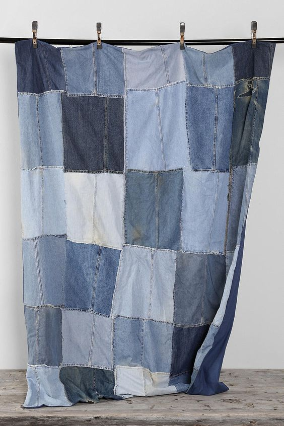 Vintage Patchwork Denim Blanket
