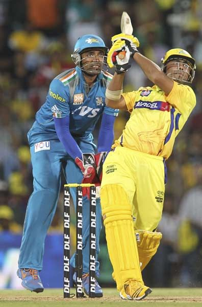 Chennai Super Kings batsman Ravindra Jadeja hits a six during the IPL Twenty20 cricket match between Chennai Super Kings and Pune Warriors at The M.A. Chidambaram Stadium in Chennai on April 19, 2012.