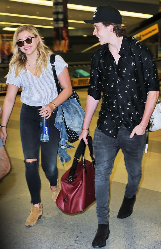 Celebrity-Inspired Outfits to Wear on a Plane - Chloë Grace Moretz and Brooklyn Beckham  from InStyle.com: