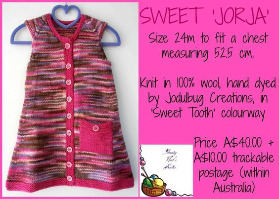 Handmade by Aunty Nat's Knits   'Sweet Jorja' LAST CHANCE Market Night opens on Sunday 23rd March at 8pm AEDST
