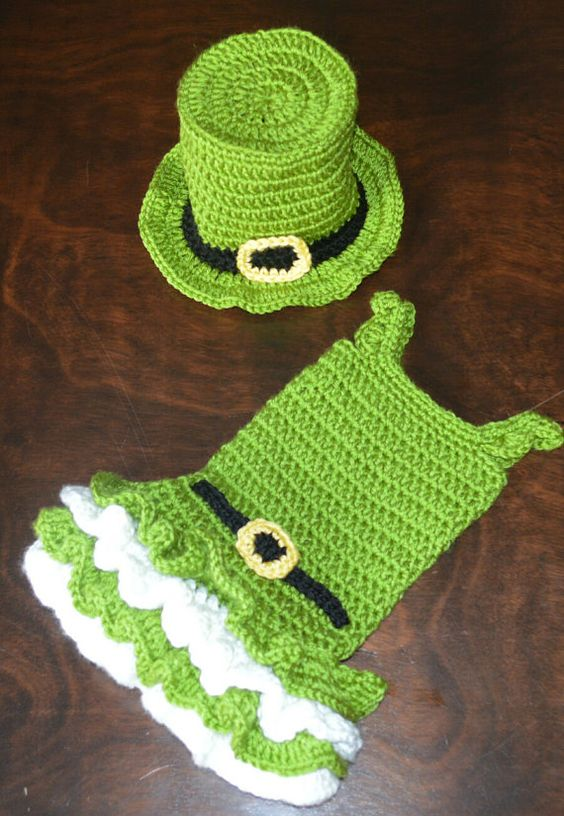 Crochet Baby Leprechaun Hat Pattern : St. Patricks Crochet Leprechaun Tutu Dress and Matching ...