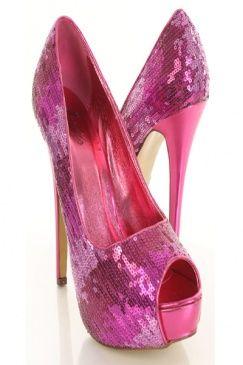 fuschia sequin heels