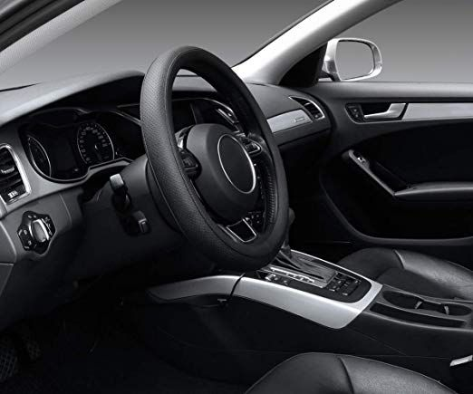 SEG Direct Couvre Volant Beige Microfibre Cuir Pour Prius Civic 35.5-36 cm
