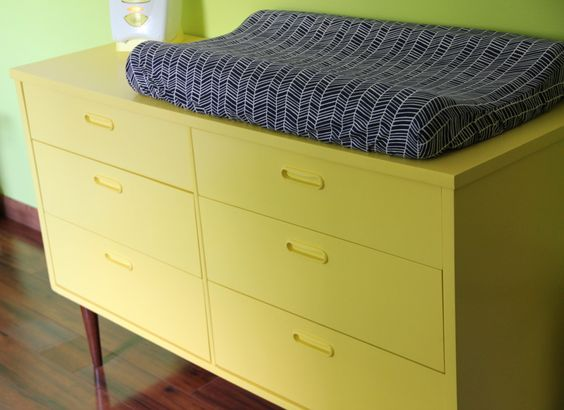 Adore this vintage citron dresser paired with this modern herringbone changing pad cover. #nursery #modern #vintage