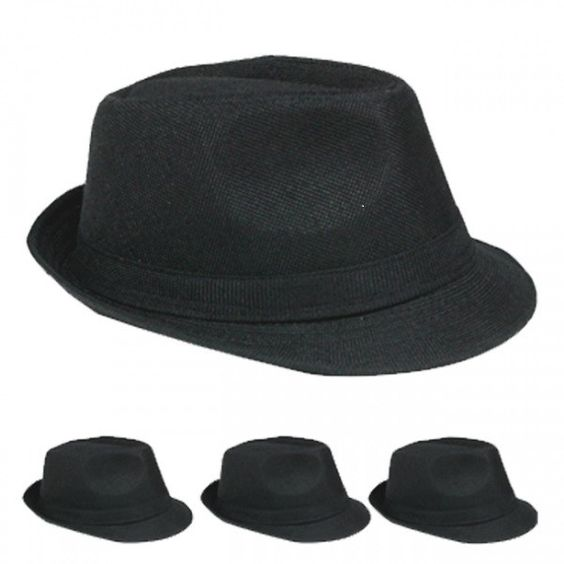 plain black casual fedora hat Case of 72