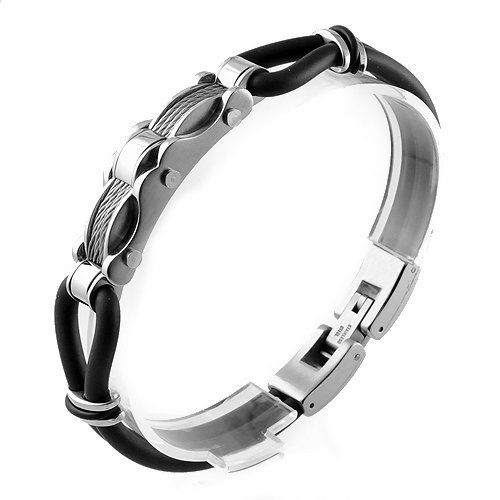 Curved Plate with 4 Cable in Stainless Steel and Black Round Rubber Bracelet (8 in) Stylejewelry http://www.amazon.com/dp/B0062QDXK0/ref=cm_sw_r_pi_dp_mGyTtb1TYE811M3K
