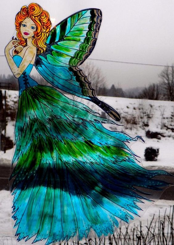 WICOART WINDOW COLOR STICKER STATIC CLING STAINED GLASS ART FÉE PAPILLON VERT