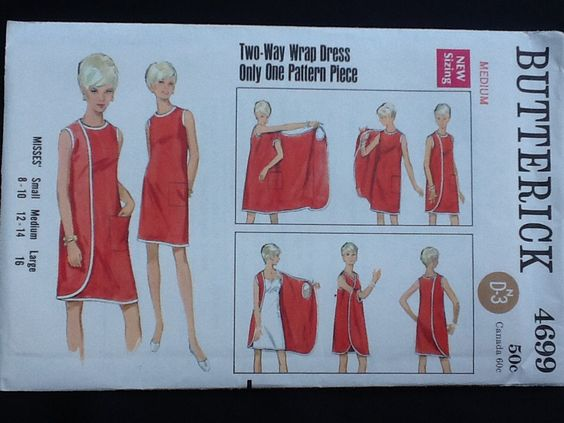 Butters I pattern 4699. Vintage uncut 1967 misses' two way wrap dress with three armholes, without side seams, side wrap to front or back. by Stitchandzip on Etsy