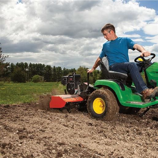 Dr Tow Behind Rototiller With Images Riding Lawn Mower