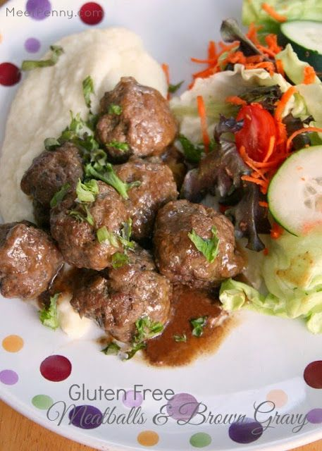 Gluten-Free Meatballs recipe with brown gravy from Meet Penny. This can be for dinner or an appetizer. It creates a delicious sauce (perfect for mashed potatoes or cauliflower) Put this in your meal rotation! #BestMeatballRecipes