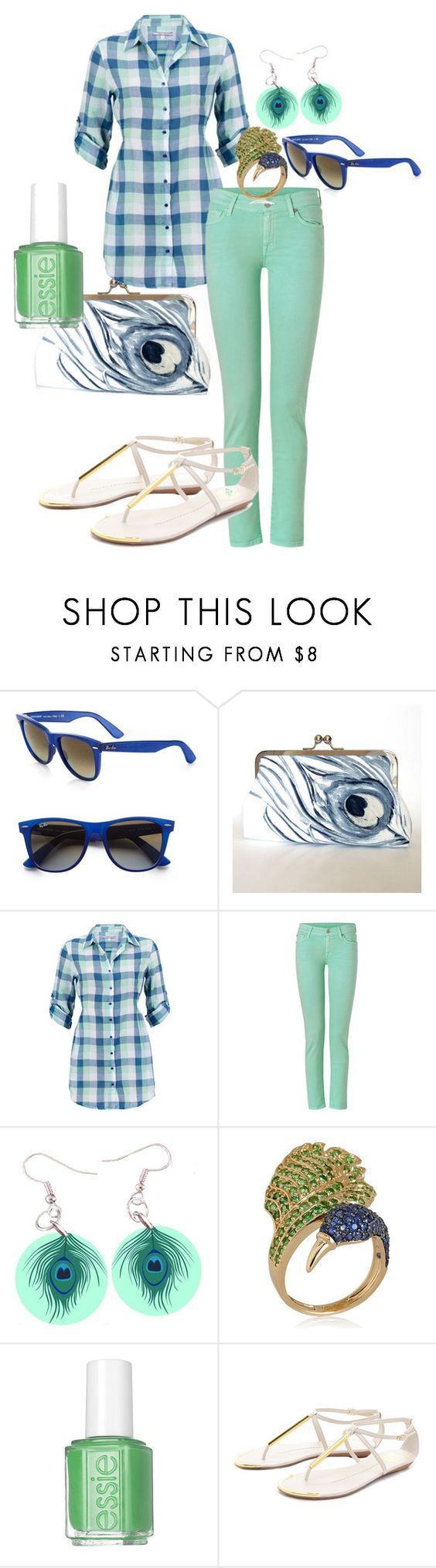 """Peacock Plaid"" by jetpuppy14 ❤ liked on Polyvore featuring Ray-Ban, Silvian Heach, 7 For All Mankind, Paul Brodie, Essie and Dolce Vita"