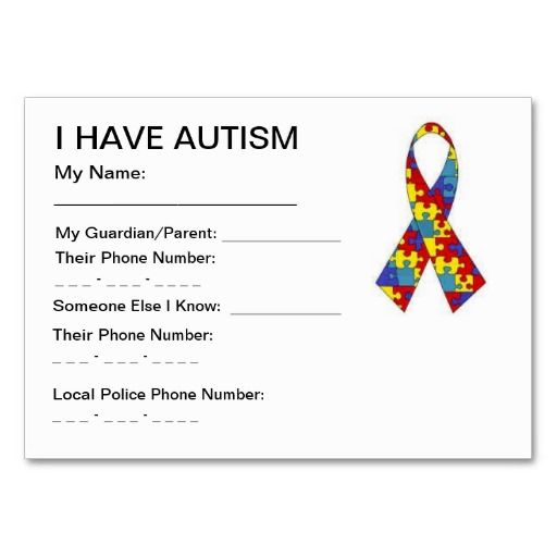 kids ID Card Template : Autism ID cards Business Cards : Zazzle.co.uk