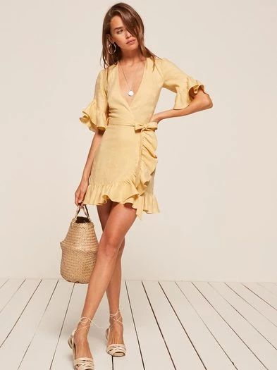 The ruffled collection. This is a mini length, wrap dress with ruffle edged sleeves and a ruffled hem.