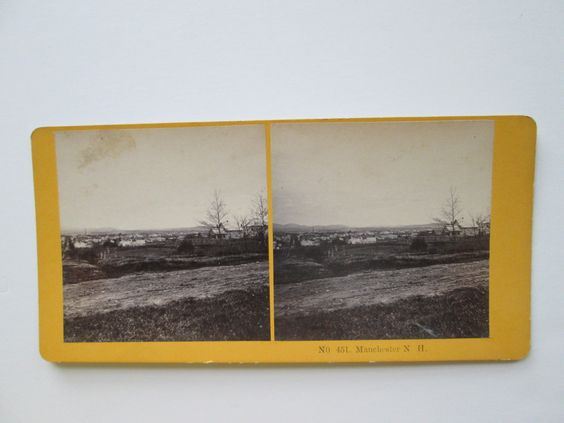 "LATE 1800s or EARLY 1900 STEREOVIEW, KILBURN, NH, ""# 451 MANCHESTER, N H"""