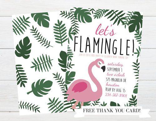 Watercolor Flamingo Thank You Card-#BP63 Flamingo Birthday Party Thank You Card Let/'s Flamingle Thank You Card Girl Birthday Thank You