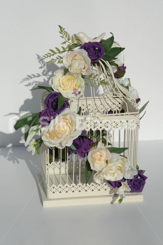 Ivory Purple Rose Shabby Chic Bird Cage Wedding Table Display