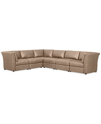 Mariella Leather 6 Piece Modular Sectional Sofa Couches
